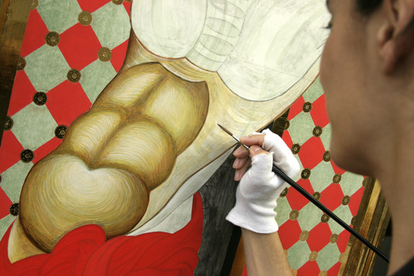 detail during the tempera painting