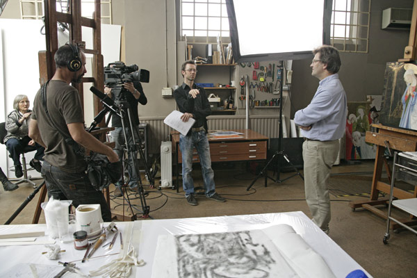 During filming © Chris Titmus and Hamilton Kerr Institute