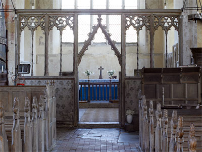 Rood screen in the church at Thompson, near Thetford, Norfolk